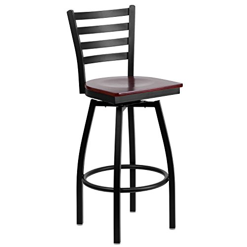 Flash Furniture HERCULES Series Black Ladder Back Swivel Metal Barstool - Mahogany Wood Seat - Ladder Back Wood Seat Stool