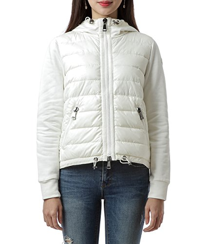 Wiberlux Moncler Women's Padded Panel Hooded Zip-Up Jacket XS Ivory by Wiberlux
