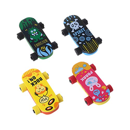 WHER Creative Skateboard Eraser Pencil Rubber Cleaner for Classroom Rewards, Party Favors, Games Prizes, Carnivals Gift and School Supplies