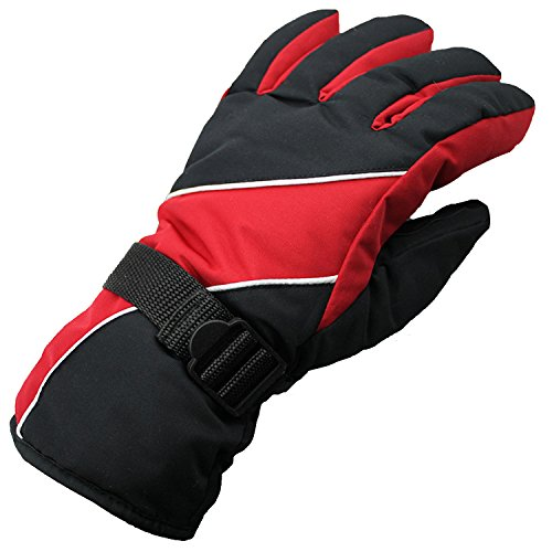 Simple Ski Gloves,Dealzip Inc Ski Gloves Fashion Red & Black Mens Winter WindStopper Waterproof Outdoor Sports Snow Skiing Riding Motorcycle Warm Protective Free Size Full Finger Gloves