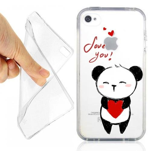 CUSTODIA COVER CASE PANDA AMORE PER IPHONE 4 4S TRASPARENTE