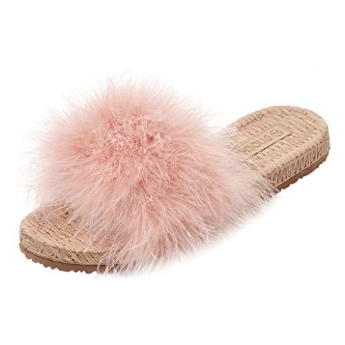 (Women Flat Sandals Shose EDTO Ladies Women's Wool Slippers Platform-Bottomed Mane Open Toe sandals Beach Walk Shoes)