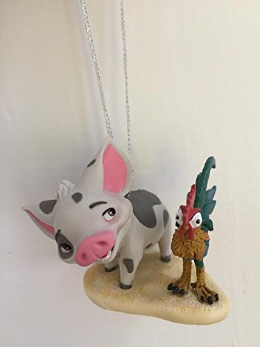Disney Moana Pua And Heihei Pet Pig And Rooster Holiday Christmas Tree Ornament PVC Figure 2'' Figurine by HOLIDAY ORNAMENTS