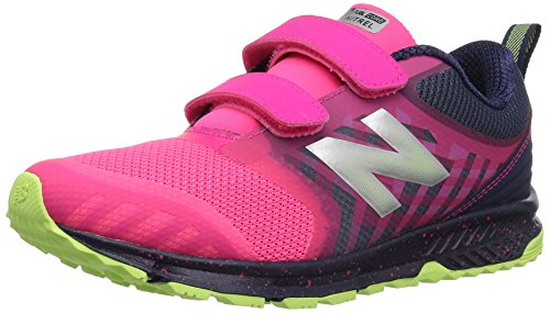 New Balance FuelCore Nitrel Hook and Loop Trail Running Shoe, Pink/Grey, 13 M US Little - Shoe Kids Running Trail