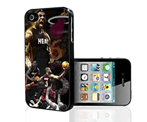 Red and Black Famous Miami Heat Basketball Ball Players Fan Art Hard Snap on Phone Case (iPhone 5/5s)