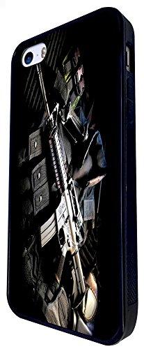 909 - Army Equipment Gun Rifle M16 Funky Design iphone SE - 2016 Coque Fashion Trend Case Coque Protection Cover plastique et métal - Noir