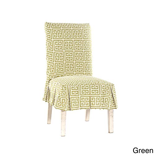 Classic Slipcovers Roman Key Short Pleated Dining Chair Slipcover Lime Green Duck Short Dining Chair Slipcovers