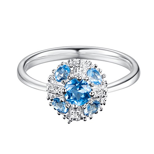 Carleen Sterling Silver 1.75 Carats Natural Blue Topaz Ring Fashion Engagement Rings for Women, Size 7