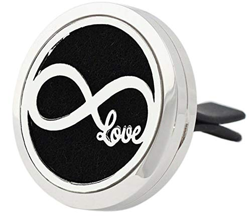 Aromabug (Infinite Love) 30mm Car Aromatherapy Essential Oil Diffuser Stainless Steel Locket Air Freshener with Vent Clip 7 Pads 3 Oils Included