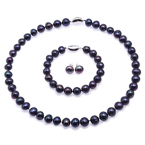 - JYX Pearl Necklace Set AA+ Quality 10-11mm Black Freshwater Cultured Pearl Necklace Bracelet Earrings Set