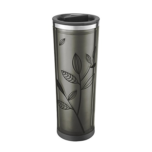 Takeya Leaf Pattern Tea/ Coffee Tumbler, Black/Black, 16oz