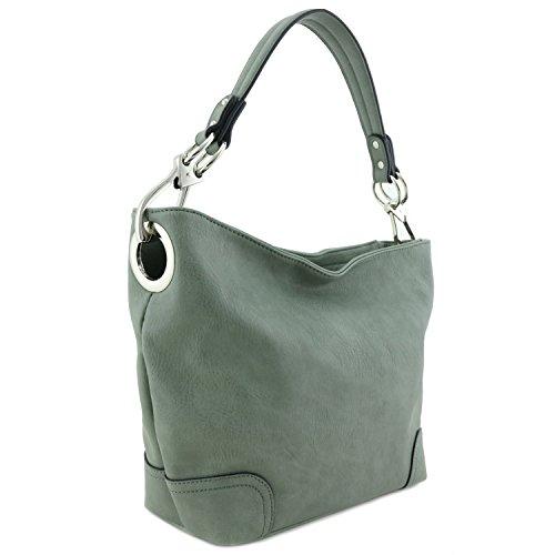 Hobo Shoulder Bag with Big Snap Hook Hardware (Sage Green)
