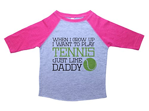 Baffle Dad Raglan Tshirt/When I Grow up, Tennis Like Daddy/Toddler Girls (5/6T, Heather & Pink)