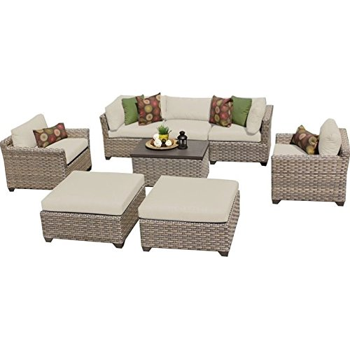TK Classics Monterey 8 Piece Outdoor Wicker Patio Furniture Set 08a, Beige