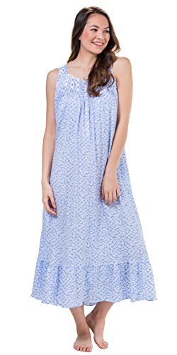 Eileen West Sleeveless Long Cotton Knit Nightgown In Demure Daisy (Blue/White Floral, X-Large (Cotton Ruffled Nightgown)
