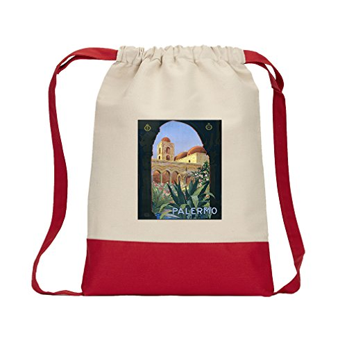 Palermo Vintage Poster Canvas Backpack Color Drawstring Bag - - Palermo Style