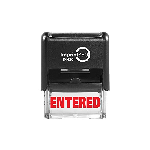 - Imprint 360 AS-IMP1028 - ENTERED, Heavy Duty Commerical Quality Self-Inking Rubber Stamp, Red Ink, 9/16