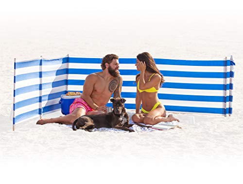Beach Windscreen, Privacy Screen, Wind Blocker - Classic Nautical, with Mallet and Carry Bag