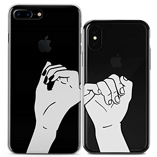 Lex Altern Couple iPhone Case Pinky Swear Xs Max X Xr 10 8 Plus 7 6s 6 SE 5s 5 TPU Sketch Clear Cute Friend Bestie Gift Apple Girl Teen Phone Draw Basic Cover Soft Print Protective Matching Silicone ()