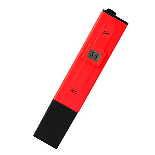 Digital PH Meter, 0.1 PH High Accuracy Water Quality Tester Pen Portable Pocket Size with 0-14 PH Measurement Range for Household Drinking Water, Aquariums, Swimming Spas(Red) by Suramayoo