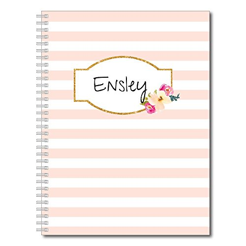 A Touch of Pink Personalized Floral and Stripes Spiral Notebook/Journal, 120 College Ruled or Checklist Pages, durable laminated cover, and wire-o spiral. 8.5x11 | 5.5x8.5 | Made in the USA