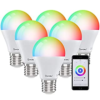 Onforu 6 Pack Smart Light Bulb Works with Alexa, LED WiFi Light Bulbs E26, Color Changing Dimmable RGBW Bulb with Music Synchronized, App Remote Control, Compatible with Echo, Google Assistant