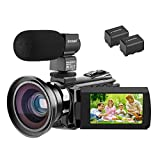 Video Camera Camcorder 4K Kenuo Ultra HD 60FPS Digital WiFi Camera, 48.0MP 3.0 inch Touch Screen, IR Night Vision, 16X Digital Zoom, with External Microphone and Wide Angle Lens, 2 Batteries