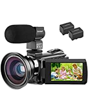 Video Camera Camcorder 4K,Kenuo HD 60FPS Digital WiFi Camera, 48.0MP 3.0 inch Touch Screen, IR Night Vision Camcorder, 16X Digital Zoom with External Microphone and Wide Angle Lens, 2 Batteries