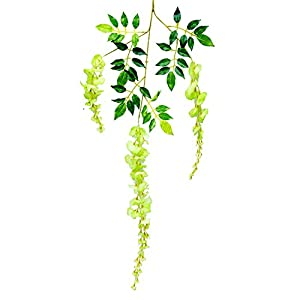 Mcupper-Pack of 12 Artificial Wisteria Vine Ratta Hanging Garland 3.6 Feet Fake Silk Flowers String for Home Party Wedding Décor (Green) 2
