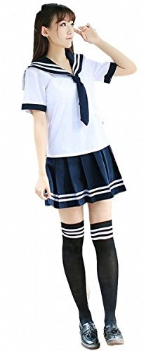 [POJ Chorus Style Japanese High School Girls Uniform [ M / L / XL ] Costume (M)] (Reality Tv Characters Costumes)