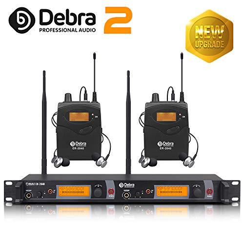 The Best Sound Quality!!! Professional True Diversity UHF in Ear Monitor System! Dual Channel Monitoring ER-2040 Type for Stage Recording Studio Monitoring(SR2050 Update Type) (with 2 Receivers)
