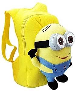 3D eyes Despicable Me Minion Plush Backpack Child PRE School Kid Boy and Girl Cartoon Bag School bag