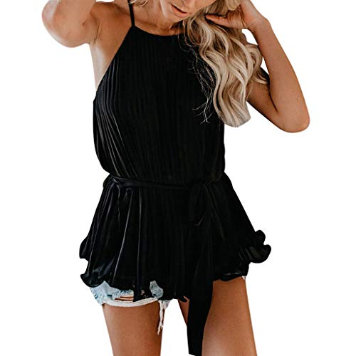 LuluZanm Chiffon Tank Tops for Women,Sale Ladies Summer Sleeveless Crop Blouse Lace Camisole Casual Vest Shirts Black