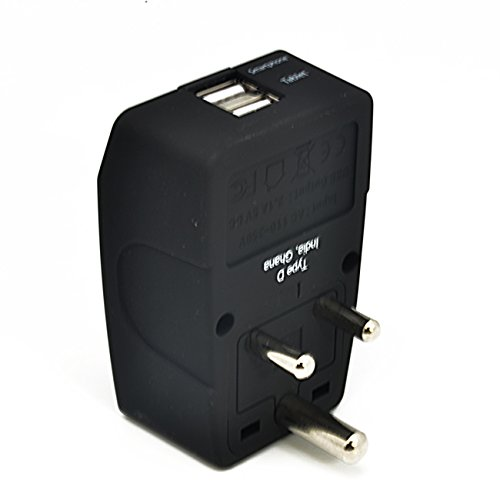 India Plug Travel - Ceptics GP4-10 2 USB India Travel Adapter 4 in 1 Power Plug (Type D) - Universal Socket