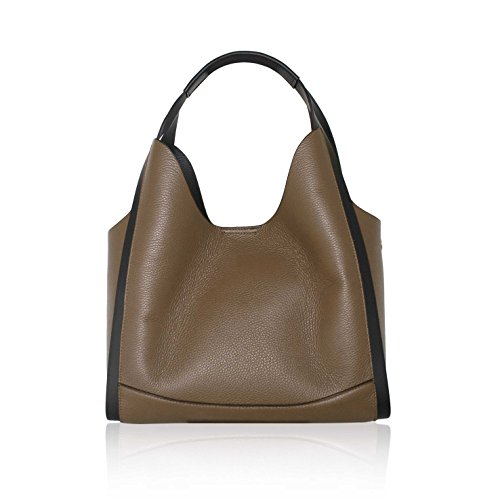 Con Italiana Bolsa Krizia Cuero myitalianbag Embrague Tote Suave Tórtola En De Hombro Shopper Extraíble Tela Grano qE7pSwxn