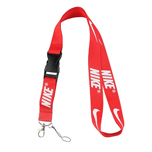 Lanyard Keychain Holder Keychain Key Chain Black Lanyard Clip with Webbing Strap (Bright red)]()
