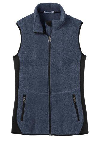Port Authority Ladies R-Tek Pro Fleece Full-Zip Vest>M Navy Heather/Black L228 (Port Ladies Fleece Authority R-tek)