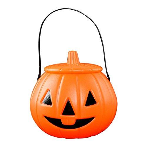 Asiproper 3D DIY Halloween Pumpkin Bucket Children Candy Pail Holder Barrel with Lid