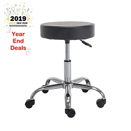 Weinerbee Rolling Stool Adjustable Height Swivel Stool Chair for Tattoo Shops,Salons,Drafting,Massage (Black) -