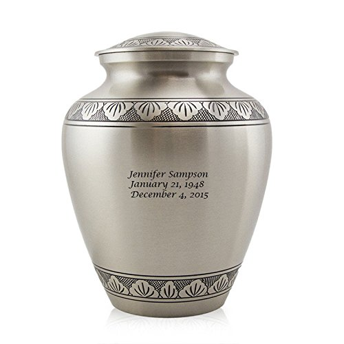 Athena Bronze Urn - OneWorld Memorials Athena Bronze Cremation Urn - Extra Large - Holds up to 240 Cubic inches of Ashes - Pewter Silver Metal Urns for Ashes