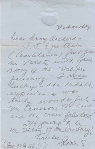 GLORIA STUART (Titanic) signed handwritten letter to Army Archerd