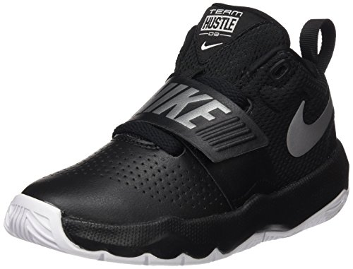 NIKE Boy's Team Hustle D 8 (PS) Pre School Basketball Shoe Black/Metallic Silver/White Size 3 M US