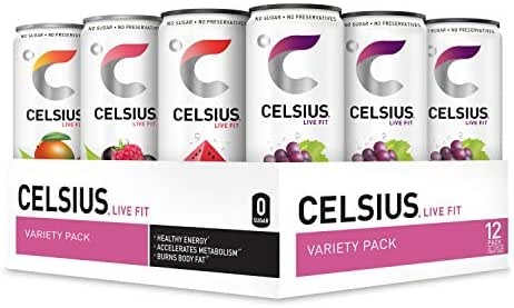 CELSIUS Fitness Drink 4-Flavor Variety Pack, Zero Sugar, 12oz. Slim Can, 12 Pack