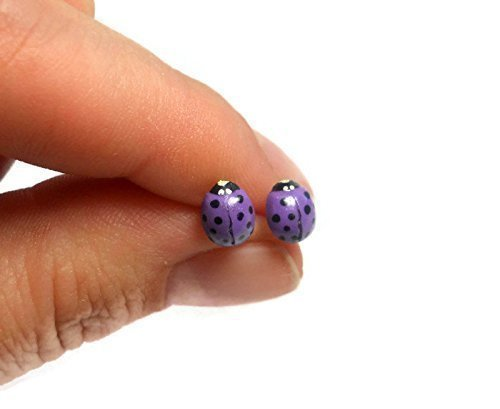 Tiny Purple Ladybug Earrings on Sterling Silver Posts ()