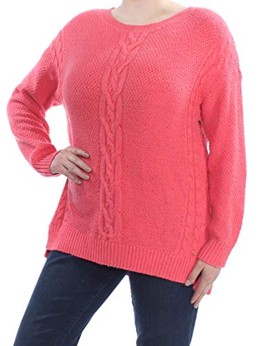 Tommy Hilfiger Womens Cable Knit Crew Neck Pullover Sweater Pink XL
