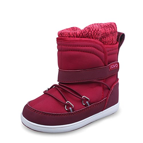 U-MAC Girls Snow Boots Stomper Winter Warm Boots Knitted Fur Lining(Little Kid/Big Kid) by U-MAC