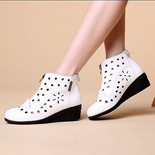 Holes Toe Rumba White Ballroom Breathable Cozy Mid 823 Casual Womens Modern Zip Wedge Round Abby Shoes Top Dance SOTvq1S