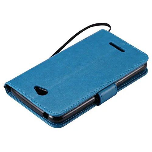 SRY-Funda simple Funda de piel para Sony E4, Lucky Tree y Cat Premium PU con caja de silicona para estampado de gatos y árboles Funda de silicona para Sony E4 Conveniente y practico ( Color : Pink ) Blue