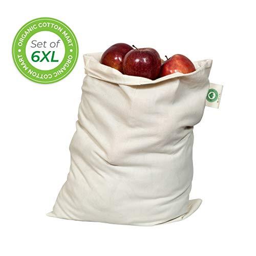 Food Grade Bulk Storage Bags - Reusable - Organic Cotton Fabric Produce Drawstring Bags - Organic Cotton Muslin Produce Bags - Reusable Natural Cloth Bags - Grain Bags (6, X-Large: 14x18)