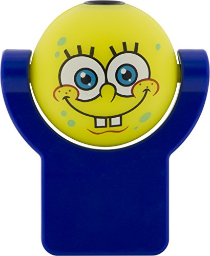 (Projectables 11708 Spongebob Squarepants LED Plug-in Night Light, Yellow and Blue, Light Sensing, Auto On/Off, Projects Nickelodeon Spongebob Squarepants Image on Ceiling, Wall, or Floor)